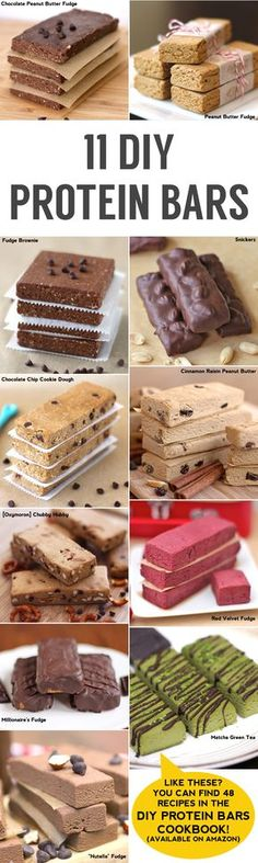 Healthy DIY Dessert Recipes DIY Protein Bars Cookbook – Jessica Stier of Desserts with Benefits (Haven't read the recipes but want them and will tweak for low carb as needed. Diy Protein Bars, Protein Bar Recipes, Protein Snacks, High Protein, Protein Energy, Healthy Protein, Protein Bites, Vegan Protein Bars, Protein Powder Recipes