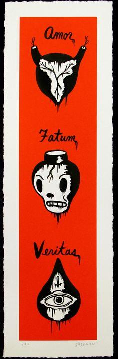"""Amor, Fatum, Veritas"" Art Print by Gary Baseman"