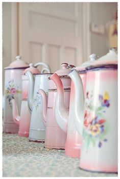 Pretty enamel coffee pots.