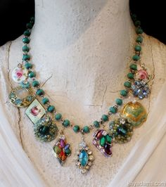 vintage costume jewelry now i know what i am going to do with the boxes of costume · okxqyri . Costume Jewelry Crafts, Vintage Jewelry Crafts, Recycled Jewelry, Old Jewelry, Vintage Costume Jewelry, Jewelry Art, Beaded Jewelry, Handmade Jewelry, Jewelry Design
