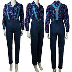 Women's Stranger Things season 3 El Eleven shirt suspender trousers cosplay Halloween costume