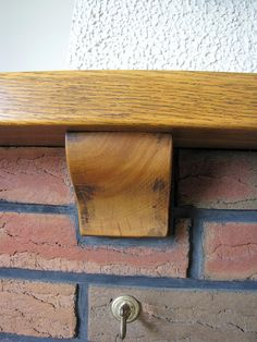 Oak mantel, need to refer to this colour tone with kitchen choices (fine with different wood species) Oak Mantel, Wood Species, Choices, Door Handles, Colour, Living Room, Kitchen, Home Decor, Color