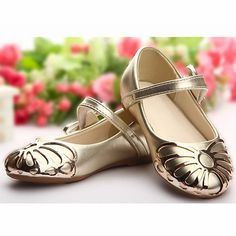 Cute Gold Patent Leather Flower Pageant Girl Girls Party Mary Jane Shoes SKU-133224