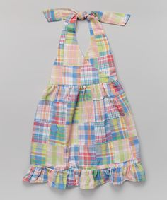 Look at this Rainbow Plaid Halter Dress - Toddler & Girls on #zulily today!
