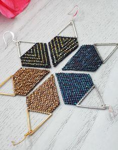 Geometric Triangle Handwoven Seed Bead Earrings