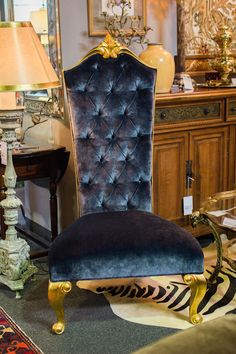 Velvet tufted statement chair adds the perfect flair to any room. Found at Avery Lane Fine Consignment in Scottsdale, Arizona.
