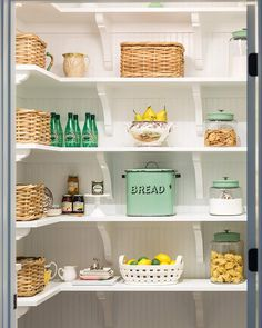 Pretty and practical can coexist—such is the mantra of any cottage homeowner, and this perfectly organized pantry is proof. Spode Woodland, Vintage Cake Plates, Oak Trim, Pantry Organization, Organized Pantry, Pantry Ideas, Organizing, Craftsman Style Homes, Small Shelves