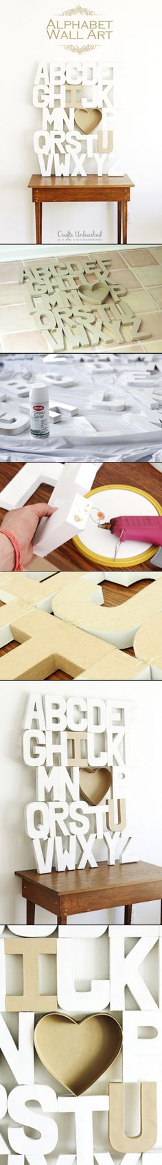 Alphabet Wall Craft - would be cute for a baby / kid room