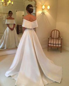A-line Off The Shoulder Long Satin Wedding Dresses 2018
