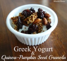 Quinoa-Pumpkin Seed Granola & Greek Yogurt at Blissful Roots Homemade Sugar Cookies, Rolled Sugar Cookies, Homemade Food, Real Food Recipes, Snack Recipes, Yummy Treats, Yummy Food, Yogurt And Granola, Granola Bars