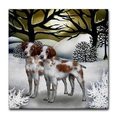 BRITTANY SPANIEL DOGS Winter Sunset art ceramic tile coaster optional frame on Etsy, $15.00