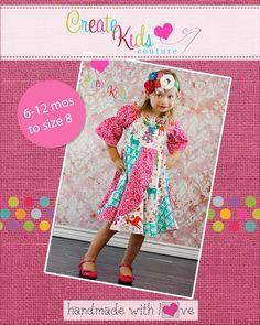 Violette's Swirly Peasant Dress PDF Pattern sizes Newborn to 8 Kids Plus FREE Doll Pattern Create Kids Couture, Kids Boutique, Boutique Clothing, Pdf Sewing Patterns, Crochet Patterns, Sewing For Kids, Applique Designs, Violet, Stitch Patterns