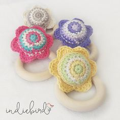 Baby Crochet Flower Rattle Wooden Teething by IndiebirdHandmade
