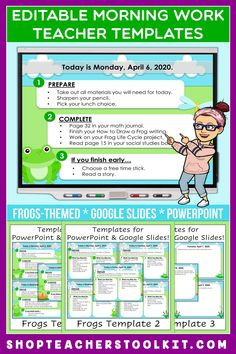 These frogs-themed Editable PowerPoint and Google Slides Teacher Templates include space to type the day and date, reminders of what to do when entering the classroom, as well as 'must do' and 'may do' assignments. Remind your students of their morning assignments during arrival time by displaying them on your whiteboard or SMARTBoard. #teachertemplates #morningarrivalinstructions #editable #powerpoint #googleslides #funthemes #frogs #spring