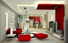 modern living room shades of red and white with red sofas