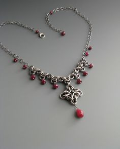 Byzantine Diamond Chainmaille Necklace with Ruby. $125.00, via Etsy.