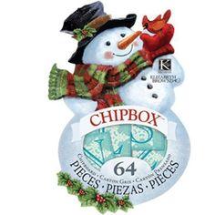 K&COMPANY Elizabeth Brownd Visions of Christmas SNOWMAN Chipbox Alphabet - 64pcs #EKSuccess