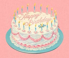 Ideas For Birthday Cake Illustration - Birthday Parties - Kuchen Happy Birthday Cards, Birthday Greetings, Birthday Wishes, Photo Birthday Cakes, Art Birthday Cake, 41st Birthday, Birthday Quotes, Birthday Ideas, Birthday Parties