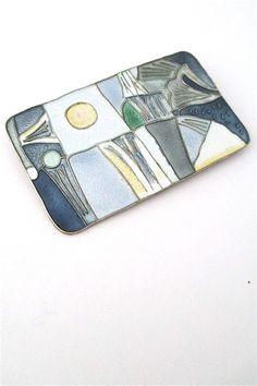 David-Andersen, Norway - vintage silver & enamel 'four seasons - spring' brooch - large size