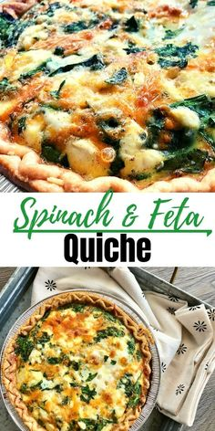 This delicious Spinach and Feta Quiche is perfect for a holiday brunch, breakfast or holiday tea. So easy to make and always perfectly delicious! Quish Recipes, Brunch Recipes, Appetizer Recipes, Vegetarian Recipes, Dinner Recipes, Cooking Recipes, Healthy Recipes, Easter Appetizers, Easter Recipes