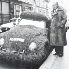 """""""Salvador Dalí in a fur coat, standing next to his grass-covered Volkswagen (originally created by Ferdinand Porsche). Charles Darwin, Salvador Dali Art, Che Guevara, Vw Vintage, Types Of Art, Famous Artists, Cat Art, Art History, Muse"""