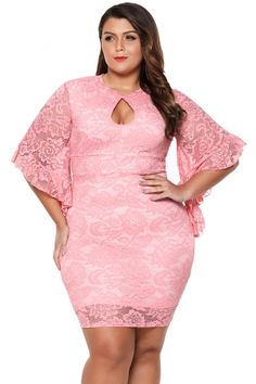 96cd2ca7e7019 Pink Lace Flare Bells Bodycon Plus Size Dress