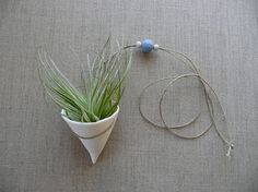Porcelain Air Plant Hanger with faceted bead by andODesign on Etsy, $48.00