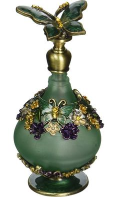 StealStreet SS-A-51638 Butterfly Perfume Bottle, Green