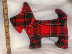 Red Plaid Stuffed Scottie Dog $10 - Primitive Folk Art Holiday Red Plaid Wool Scottie Dog #Christmas scottie Use coupon code PIN10 for a 10% discount!