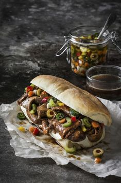 Sift Magazine Spread - Little Rusted Ladle - Chicago Italian Beef Sandwich Italian Beef Sandwiches Chicago, Beef Recipes, Cooking Recipes, Mezze, Delicious Sandwiches, Gourmet Sandwiches, Comfort Food, Food Cravings, Healthy Snacks