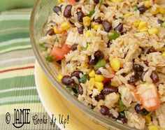 Mexican Rice Salad. Made this tonight...but excluded the chicken (we made slow cooked carnitas tacos), and made with brown rice and extra corn. Sooo delicious. Seriously! Try this one.