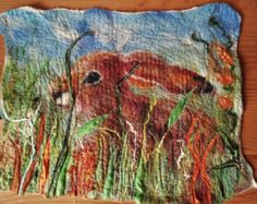 Shy Summer Hare in the Grasses Felted Wall Hanging Embroidered OOAK Blyth Whimsies