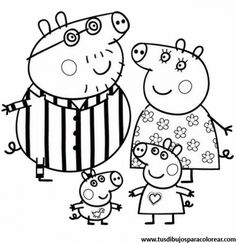 peppa pig and family coloring page for kids printable ... - Peppa Pig Coloring Pages Print