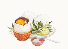 soft boiled egg in a cup Killien Huynh Vietnamese Cuisine, Vietnamese Recipes, Watercolor Food, Watercolor Illustration, Watercolour, Food Art Painting, Food Doodles, Food Sketch, Food Drawing