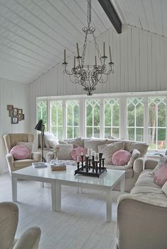 Sunroom pink and white.. so soothing