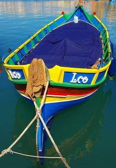 Traditional fishing boat in Marsaxlokk, Malta.