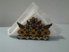 Napkin holder Paper quilling and button.