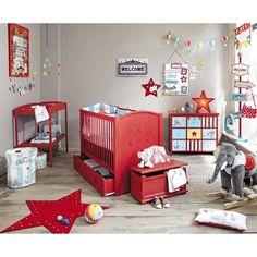 Cabinet enfant 9 tiroirs rouge CIRCUS
