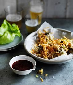 Oyster fritters with tamarind sauce recipe | Gourmet Traveller recipe - Gourmet Traveller