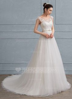 [US$ 185.69] A-Line/Princess Scoop Neck Court Train Tulle Lace Wedding Dress With Beading Bow(s) (002111935)