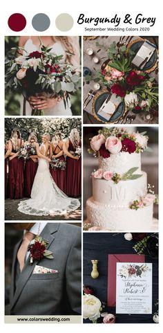 Burgundy Wedding Colors, Winter Wedding Colors, Burgundy Bridesmaid Dresses, Spring Wedding, Fall Wedding Themes, Burgundy Top, Grey Wedding Theme, Color Scheme Wedding, Wedding Color Schemes Fall Rustic