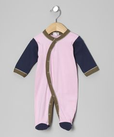 This Loralin Design Pink & Navy Footie - Infant by Loralin Design is perfect! #zulilyfinds