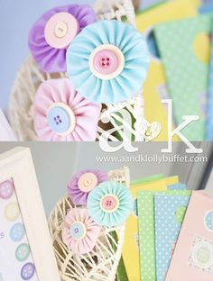 Sara's Cute As A Button Pastel Baby Shower | CatchMyParty.com