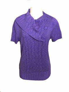 Dressbarn Purple Short Sleeve Cowl Neck Knit Sweater Size XL  | eBay