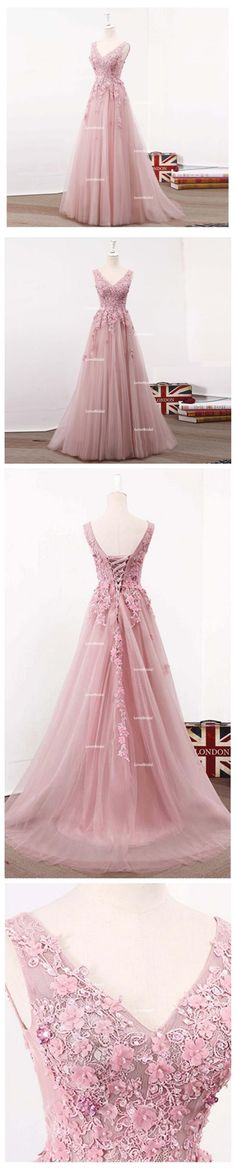 See Through Blush Pink Lace A line Long Evening Prom Dresses, Popular Cheap Long 2018 Party Prom Dresses, 17282