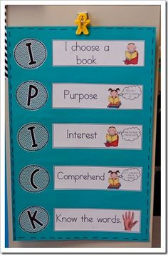 IPICK- Daily 5 -- Perfect for my bulletin board!