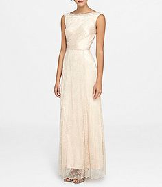 Tahari ASL Beaded Neck Lace Gown #Dillards