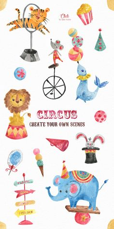 In this Circus Watercolor Clipart Collection you will find more than 90 hand painted watercolor elements. All of them are PNG 300 dpi files with transparent Circus Illustration, Cute Animal Illustration, Watercolor Illustration, Watercolor Lion, Watercolor Animals, Clipart, Circus Theme, Circus Art, Baby Elephant