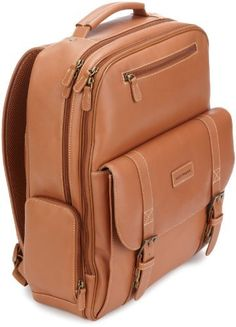 Hartmann Belting Leather Saddle Backpack, Natural, One Size Hartmann. $695.00. Belting leather. Hand wash. Ergonomic padded shoulder straps for comfortable carrying. Middle zippered section contains large packing area with mesh zippered pocket. Back pocket contains built in padded computer sleeve. Exterior features front ticket pocket, 1 elastic mesh pocket for water bottle and 1 zippered pocket for small items. Front pockets features organization panel for business cards, pen...