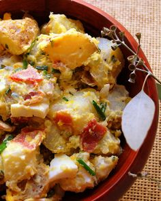 Egg Potato Salad......taters, hard boiled eggs, bacon, mayo, sour cream, mustard, pickle juice, etc